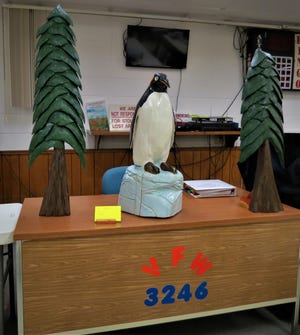 The North Arkansas Woodcarvers Club meet on Thursdays at 8 a.m. at VFW Post 3246, located on the corner of 7th and Gray streets. Anyone interested in woodcarving is encouraged to stop by and visit with the woodcarvers. Shown above are a mountain man and native guide carved by Wally Smietanski and a penguin on ice and a pair of trees carved by Kim Valentine that were on display at one of the group's recent meetings.
