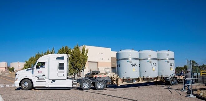 An EM transuranic waste shipment from the Radioassay and Nondestructive Testing facility at Los Alamos National Laboratory departs for the Waste Isolation Pilot Plant.