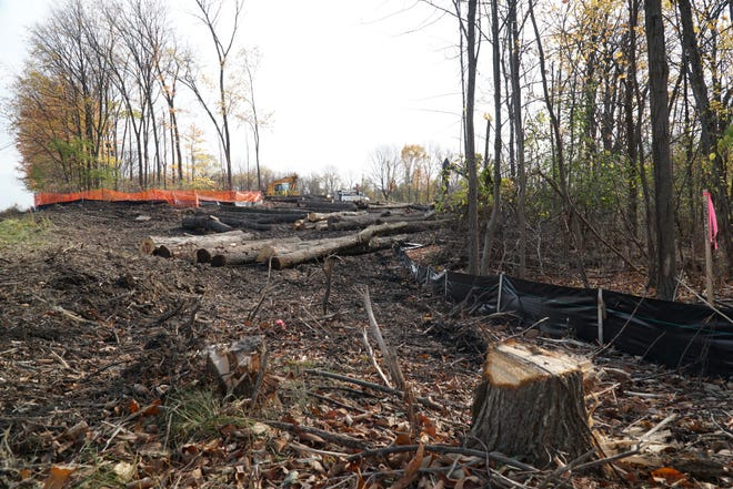 Land is cleared along Thirteen Mile in Novi west of Haggerty on Oct. 29, 2020 for a new Walled Lake School District building.