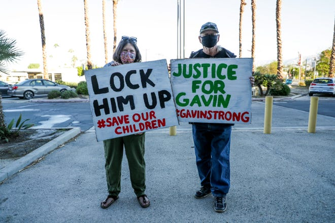 Gavin Ludwick's godmother, Brenda Spires, and her brother, Daryl Spires, wait outside Larson Justice Center in Indio, Calif. on Thursday, October 29, 2020. Gavin was allegedly attacked by a 32-year-old Daniel Birch Poulsen, Jr. in Desert Hot Springs in July 2020.