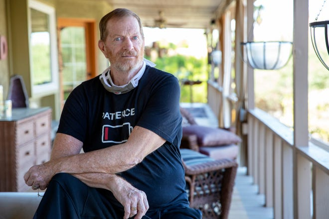 Robby Sherwin submitted his mail-in ballot on Oct. 19 at the Cathedral City City Hall only to find that it was later invalidated. Sherwin is photographed at his home in Cathedral City, Calif., on October 28, 2020.