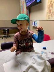 Holden Oberst at Phoenix Children's Hospital in 2019 after breaking his arm in a fall from a trampoline.