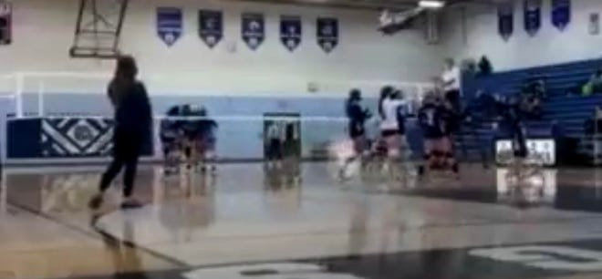 Yale volleyball player Jenna Griffith hit a sick trick shot into the garbage can on Tuesday, Oct. 27, 2020, against Richmond.