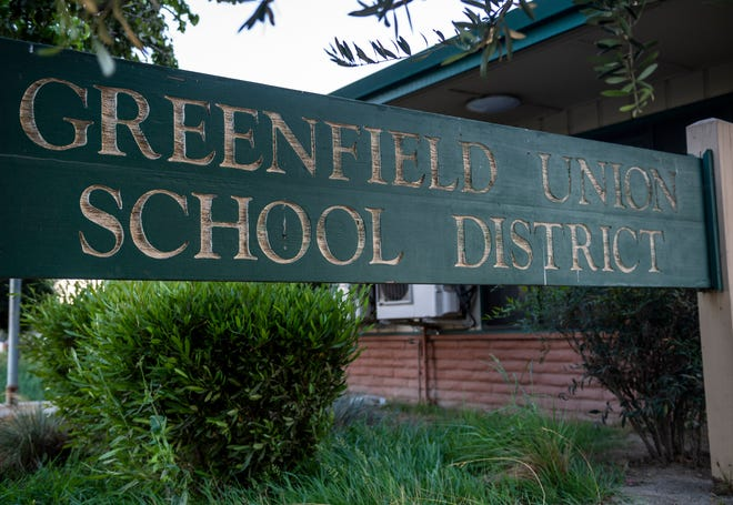 A Greenfield Union School Dsitrict sign sits in front of the district office in Greenfield, Calif., on Friday Oct. 23, 2020.