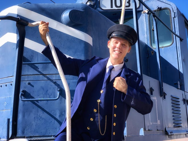 "Shelby Bond volunteered as Conductor ""Sam Angelo"" at the Railway Museum during the National Museum Day in September 2020."