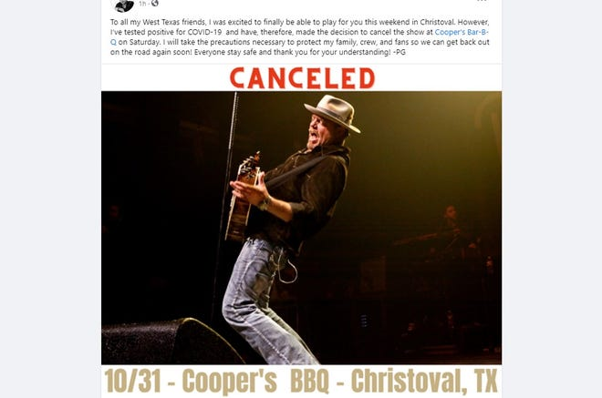 Pat Green's planned Halloween concert at popular Christoval venue Cooper's Bar-B-Que has been canceled after the singer tested positive for COVID-19.