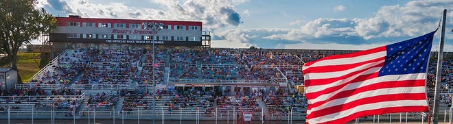 The grandstands filling in at the World of Outlaws race at Huset's Speedway in Brandon on Sept. 5, 2020.