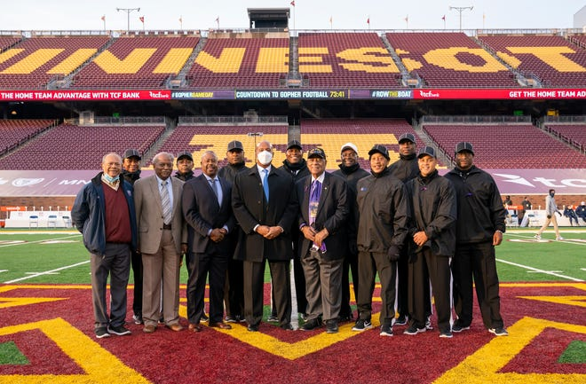 Calvin Diggs (back row, third from left) was a part of the first all-Black officiating crew Saturday, Oct. 24, 2020 at the University of Minnesota game against Michigan.