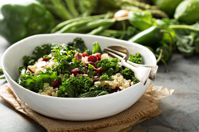 Enjoy vegetables and fruits that are at their tastiest this season with this quinoa bowl.