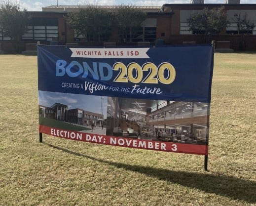 No-bond advocates contend that banners like this one violate political sign laws.