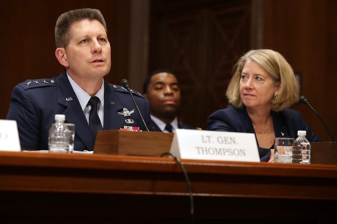 Air Force Space Command Vice Commander Lt. Gen. David Thompson (L) and Air Force (retired) Col. Pamela Melroy testify before the Senate Aviation and Space Subcommittee in the Dirksen Senate Office Building on Capitol Hill on May 14, 2019 in Washington, DC.