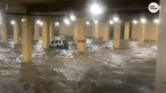 Hurricane Zeta flooded the parking garage of the Golden Nugget Casino in Biloxi, Mississippi.
