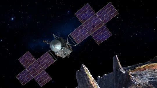 This artist's idea, updated in June 2020, depicts NASA's Psyche spacecraft.  Scheduled to kick off in August 2022, the Psyche mission will explore a metal-rich asteroid of the same name in the main asteroid belt between Mars and Jupiter.  The spacecraft will arrive in early 2026 and orbit the asteroid for almost two years to investigate its composition.