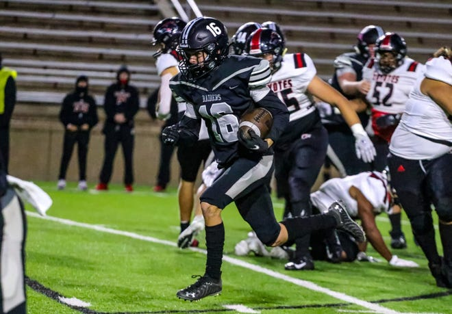 Randall's Nathan Baker heads up field for a gain in Thursday night's game against Wichita Falls at Happy State Bank Stadium. Baker had one touchdown rushing and another receiving in Randall's 36-35 loss in District 3-5A Division II play.
