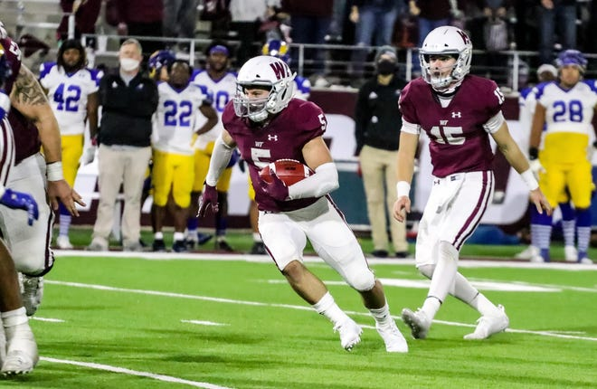 West Texas A&M's Brandon Blair (5) heads upfield during last week's 34-27 win over Angelo State at Buffalo Stadium. The  Buffs return home this evening for a 6 p.m. game against North American University.
