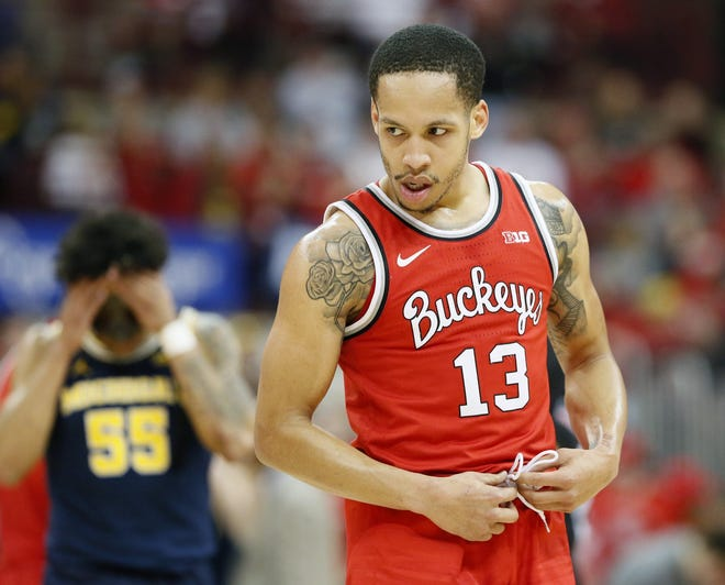 Ohio State Buckeyes guard CJ Walker (13) reacts after being fouled near the end of a March 1, 2020 NCAA Division I basketball game against the Michigan Wolverines at Value City Arena in Columbus. The Buckeyes won the game 77-63. [Barbara J. Perenic/Columbus Dispatch]