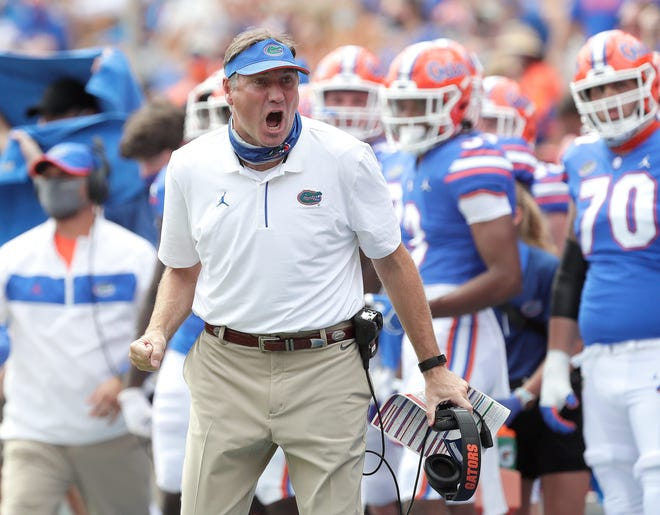 Florida head football coach Dan Mullen reacts during a game against South Carolina on Oct. 3 at Ben Hill Griffin Stadium in Gainesville, Fla.