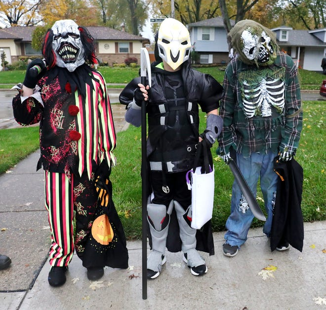 The Baron brothers made for a scary trio during trick-or-treating in Gahanna in 2020. From left are Hunter, 9; Dylyn, 9; and Logan Baron, 10. Hunter and Dylyn are twins.