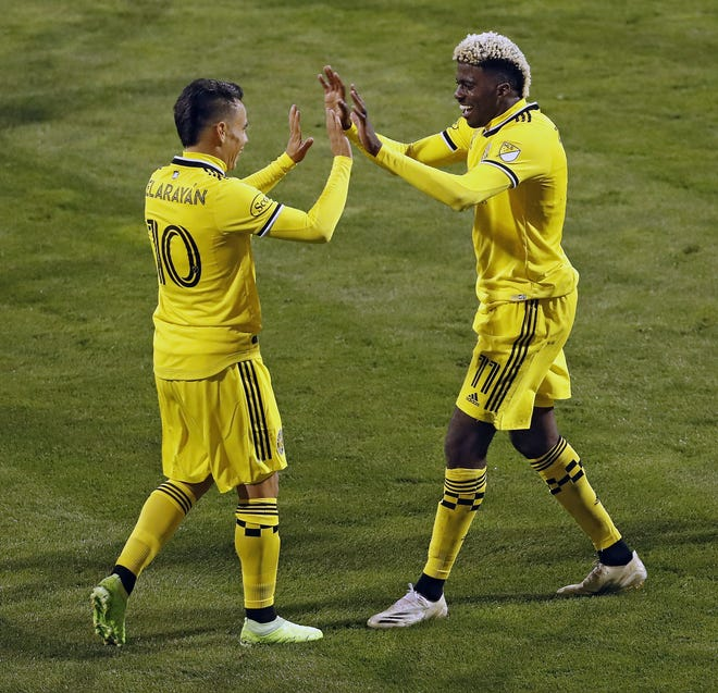 Gyasi Zardes, right, celebrating his goal against Nashville with Lucas Zelarayan on Sept. 19, returns to the lineup Sunday after missing two games.