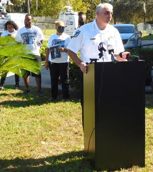 Volusia Sheriff Mike Chitwood answered questions from the press regarding the Jarius Cook homicide case on Friday, Oct. 30, 2020, at New St. John Missionary Baptist Church in DeLand.