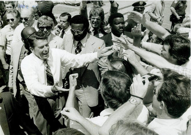 Ronald Reagan visits supporters in Jacksonville during the 1980 presidential campaign. Reagan carried the Duval County vote over Democratic incumbent Jimmy Carter, and Republicans have won the county in every presidential election since.