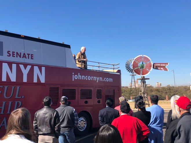 Senator John Cornyn campaigned outside Lubbock's American Windmill Museum on Friday.