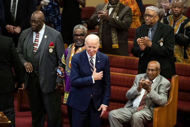 In this Feb. 23 file photo, Democratic presidential candidate and former Vice President Joe Biden acknowledges applause from parishioners as he departs after attending services at the Royal Missionary Baptist Church in North Charleston, S.C.