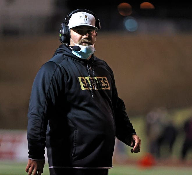 Amarillo coach Chad Dunnam walks looks down the field during a District 2-5A Division I game Thursday, Oct. 29, 2020, against Monterey at PlainsCapital Park at Lowrey Field.