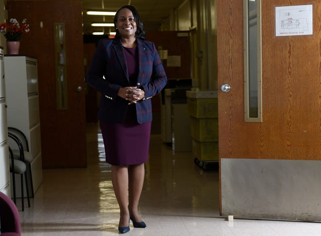 Camden City School District Superintendent Katrina McCombs poses for a portrait at the school district office last week in Camden, NJ. A complete picture has yet to emerge of how much learning was lost by students during the pandemic.