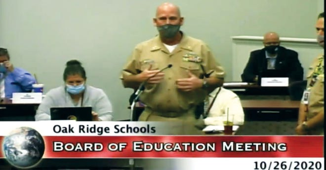 This screenshot of Monday night's Oak Ridge Board of Education meeting shows NJROTC Chief Ryan Nichols talking to the Board about the proposed trip by his cadets.