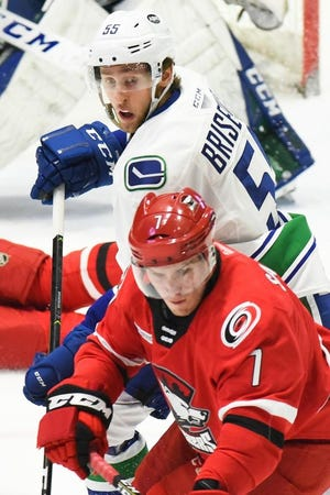 Guillaume Brisebois (55) has been selected as the Utica Comets' top defenseman the last two seasons.