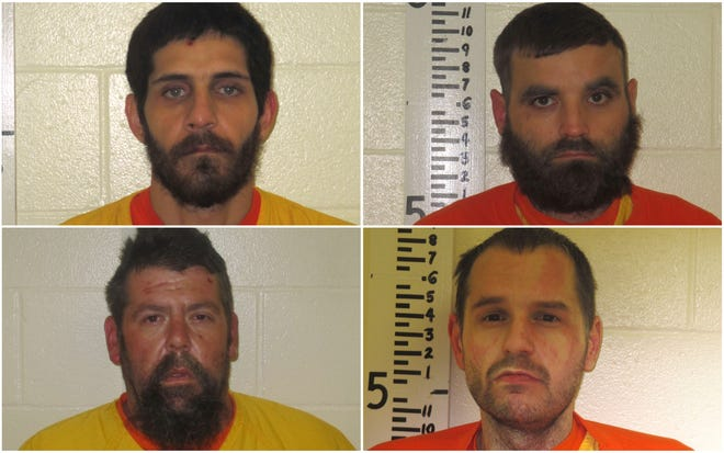 York police arrested four men on robbery charges after responding Thursday, Oct. 29, to a call from the Best Western motel. The suspects are (top left to right) Timothy Hefferon, 34, of Farmington, N.H.; Travis Webber, 39, of South Berwick; (bottom left to right) Darren Guay, 42, of South Berwick; and Patrick Smith, 32, of Epping, N.H.
