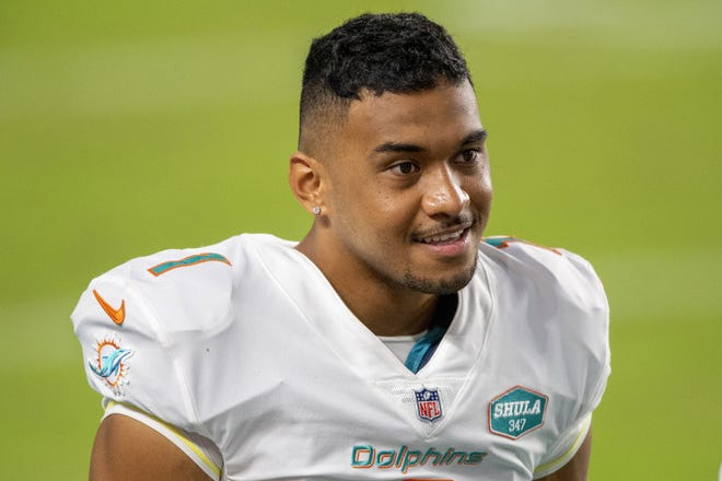 Tua Tagovailoa will start his first NFL game on Sunday. The Dolphins take on the Rams at Hard Rock Stadium. But those who know Tua say the moment won't be too big for him. [DOUG MURRAY/AP]