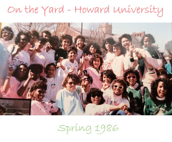 Kamala Harris with her Alpha Kappa Alpha sorority sisters just before Harris' 1986 graduation from Howard University. Harris is in the second row back, third from the left. Cyprianna Jackson is next to Harris, second row back, second from the left.