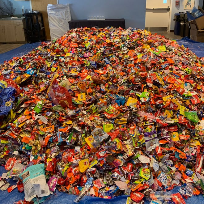 A heap of wrappers that were collected during the 2019 Unwrap the Waves campaign at Loggerhead Marinelife Center.