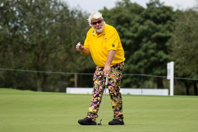John Daly finishes his round on the ninth hole tied for the lead at 8-under par Friday at the PGA TimberTech Championship in Boca Raton.