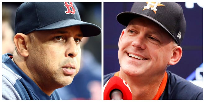 Now that the Tigers have hired AJ Hinch, right, — who was fired in Houston after a sign-stealing investigation by MLB — as their next manager, does the return of Alex Cora, left, seem more likely?