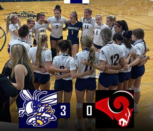 The District 5-4A (I) champion Honey Bees swept the Mineral Wells Rams 3-0 in bi-district action on Thursday. The set scores were 25-7, 25-5 and 25-20. The Bees (25-4) move to the area round against the Springtown Porcupines (20-4).