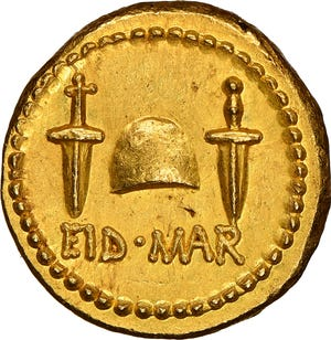 "An Ancient Roman ""Ides of March"" coin minted in 42 B.C. commemorates the murder of Julius Caesar."