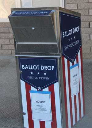 One of two ballot drop boxes in Siskiyou County. This one is in front of the Siskiyou County Clerk's Office in Yreka.