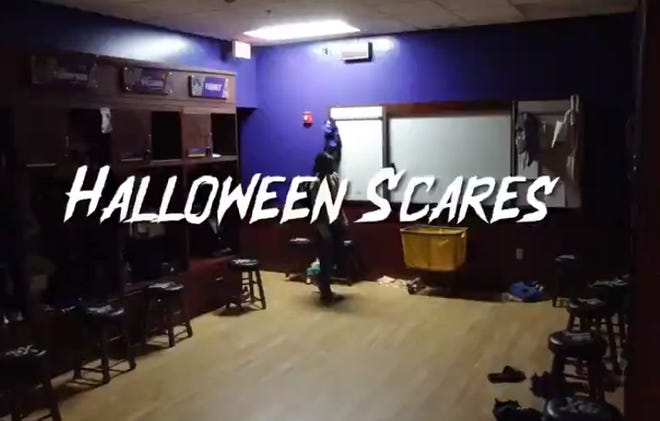 """A screenshot from the East Carolina women's basketball """"Halloween Scares"""" video posted to Twitter on Friday afternoon."""