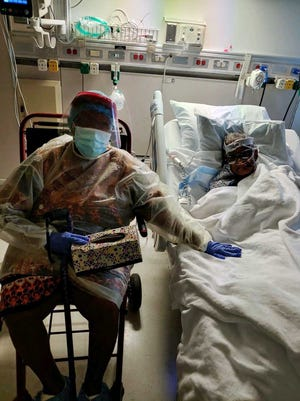 Ethel Sampson was able to visit with her husband Johnnie this week at CarolinaEast Medical Center in New Bern, where he is recovering from COVID-19.