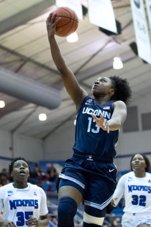:Connecticut junior guard Christyn Williams (13) was selected the Big East preseason player of the year.