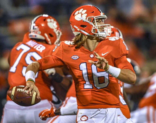 Clemson quarterback Trevor Lawrence won't be playing against Boston College on Saturday.