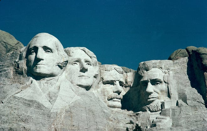 The Mount Rushmore Memorial in the Black Hills area of Keystone, S.D., is shown in this 1986 file photo. The monument was completed on Oct. 31, 1941.