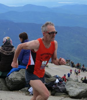 Jeff Gould of the North Medford Club nears the summit at last years' Mount Washington Road Race in Pinkham Notch, New Hampshire.