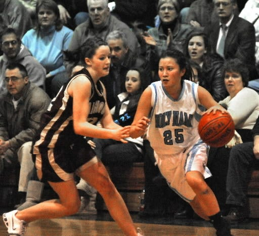 Holy Name's Anh-Dao Tran looks to get past Algonquin's Casey Dixon, left, during a Central Mass Division 1 playoff game in 2008.