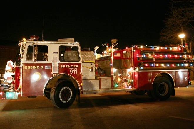 Spencer Fire Department Engine 3 is decorated for the Christmas Parade in 2009. [File Photo]