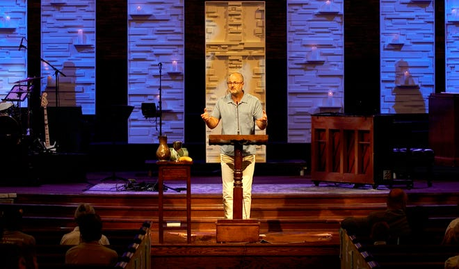 Scott Sauls, senior pastor at Christ Presbyterian Church, preaches to his congregation in Nashville, Tenn.