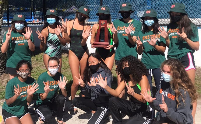 Eastside High girls swimming and dive team repeat as district champions Friday